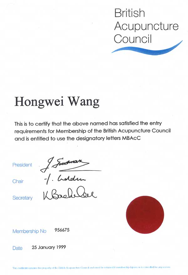 British Acupuncture Council Certificate